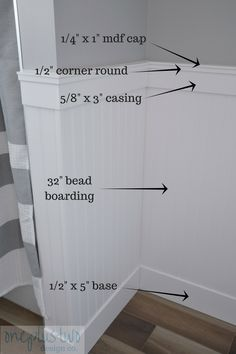 How to DIY Beadboard Paneling in 5 easy steps - Looking to add some character to your home? This post explains how you can, with this beautiful bea - Bathroom Renovations, Home Renovation, Home Remodeling, Bathroom Makeovers, Remodel Bathroom, Upstairs Bathrooms, Small Bathroom, Bathroom Tray, Small Bathrooms