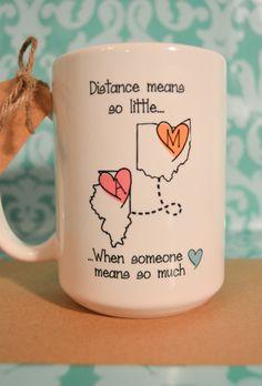 STATE to STATE Long Distance Mug 2 States 2 by BabyCakeLane                                                                                                                                                     More