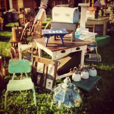 Shabby, primitive work table and other goodies.