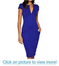 Fancy That Clothing Women's Short Sleeve Pencil V- Neck Dress