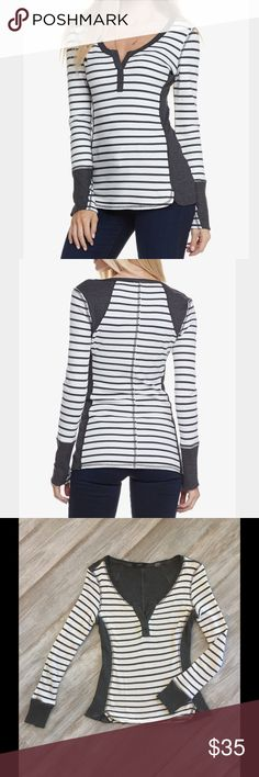 *SALE* NWOT. Tart Long Sleeve Tee NWOT! Tart Collections striped stretch modal-jersey T-shirt. Charcoal and white Tart Tops