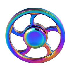 Round Wheel Rainbow Hand Spinner Fidget EDC Focus Spin ADHD Autism Finger Toy