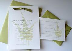 Wedding, Green, Invitations, Crescent moon paper, Fern, Garden wedding invitations, Vineyard wedding invitations