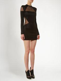 Balmain Mesh-insert mini dress