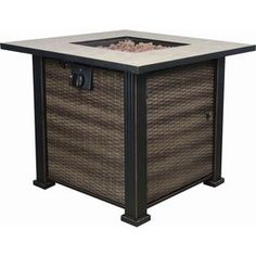Bond 30-in W 50,000-BTU Black, Brown Steel Liquid Propane Fire Table