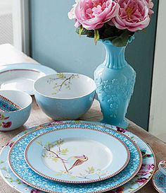 Pip Studio Blue Floral Dinnerware #Dillards - would be neat to mix & match with the Pink Floral.