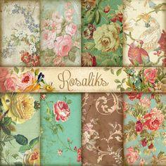Jane Austen's. Floral Digital Paper Pack, Paper Backgrounds, Vintage roses backgrounds, Scrapbooking