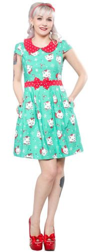 NWT Sourpuss Lizzie Dress in Christmas Kittens! Size XXL (max measurements of 42-44 bust, waist 34-36) Smoke Free Pet Friendly Home $55 shipped within the US/Canada (shipping includes tracking!)