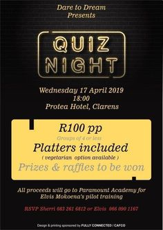 Quiz Night - Fund a Dream – Clarens News Craft Beer Festival, Pilot Training, Free State, Get Directions, The Dreamers, Barrel, How To Become, Wine, Night