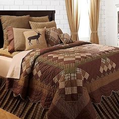 Brown-Green-Rustic-Lodge-Log-Cabin-Twin-Queen-Cal-King-Country-Quilt-Bedding-Set