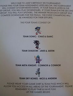 It all began with the invitation. Upon arrival, 8 competitors signed the players agreement & found their team & their schedule of even. Wii Party, Party Rules, Video Game Party, Video Games For Kids, Party Planning, Finding Yourself, Entertaining, How To Plan, Party Ideas