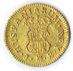 Moneda de oro 1/2 escudo 1758 Fernando VI Madrid JB., Tienda Numismatica y Filatelia Lopez, compra venta de monedas oro y plata, sellos españa, accesorios Leuchtturm