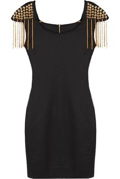 Tassle Shoulder Dress: Features a chic scoop neckline with an edgy exposed rear zipper, gold spikes crowning each shoulder with dangling tassle trim for drama, and a beckoning body-conscious silhouette to finish.