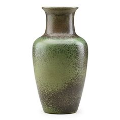 """CHARLES F. BINNSFine early stoneware baluster vase with green and brown speckled glaze, Alfred, NY, 1908; Incised CFB 08; 8 1/2"""" x 4 1/2""""Exhibition: The Stonewares of Charles Fergus Binns: The Father of American Studio Ceramics, Alfred, NY, 1998"""