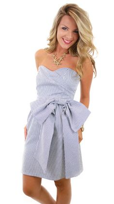 Very cute dress for an outdoor wedding in the New England area or Southern region. Seersucker Bow Dress Navy