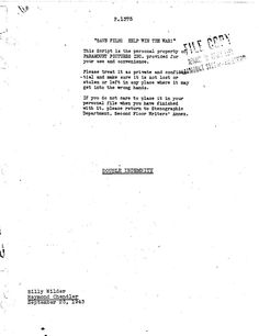 Billy Wilder and Raymond Chandler's screenplay for Double Indemnity  NOTE: For educational purposes only