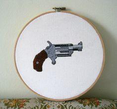 Miniature Revolver hoop art handmade by TheHiddenCornfield on Etsy, $50.00