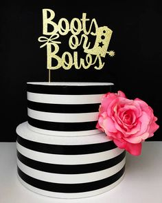 Boots or bows gender reveal cake topper baby shower cake