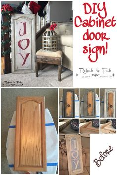 Christmas DIY: DIY Christmas Joy si DIY Christmas Joy sign made from a old kitchen cabinet door. Done by Rehab to Fab. Christmas Signs, Rustic Christmas, All Things Christmas, Christmas Fun, Christmas Decorations, Christmas Kitchen, Cabinet Door Crafts, Diy Cabinet Doors, Cupboard Doors