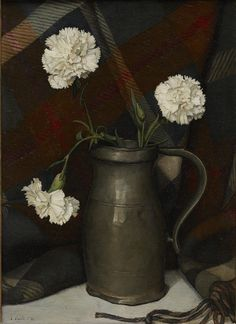 """""""Pewter Pitcher and Carnations,"""" Luigi Lucioni, 1930, oil on canvas, 14 3/4 × 10 7/8"""",  Dallas Museum of Art."""