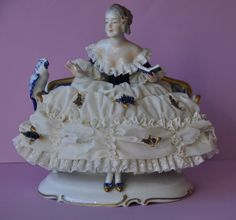 Lovely Porcelain Lace Figurine with Bird Unterweissbach, Dresden Germany