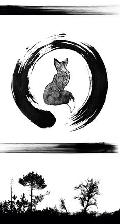 Sleeve tattoo With Fox, trees forest stripes ans enso circle (japanese)