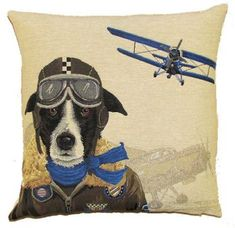 TAPESTRY DOG FIGHTER CUSHION BLUE