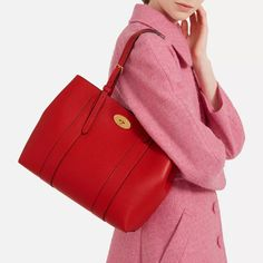 03611505d8f Shop the Small Bayswater Tote in Ruby Red Small Classic Grain on Mulberry .com.
