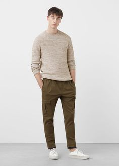 Pull-over jaspé coton - Homme Mango Outlet, Cool Outfits, Fashion Outfits, Mango Fashion, Pulls, Parachute Pants, Casual, Latest Trends, Normcore