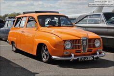 Slammed orange #Saab 95 Estate