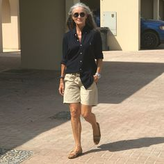 The preppy Ralph Lauren look. I believe it is ageless. Do you think there is anything a woman over 50 cannot wear? #thatisthequestion #cannotwearitwrong #shouldntwearshorts #poloralphlauren #khakishorts #preppy #ralphlaurenshirt #fit_over_50 #50newstart #betterafter50 #over50 #silver #whitehair #greyhair #fit50s #greynaissance #empoweredbygrey #empoweringwomen #itsgettinghot #mydubai #poweredbyloveandherbs