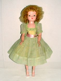 "1950s Madame Alexander 20"" Blonde Hair Cissy Doll w Vintage Pale Green Gown 
