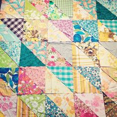 Quilt piecing from Rachel of Smile and Wave: love the fabric combinations of the HST, looks vintage