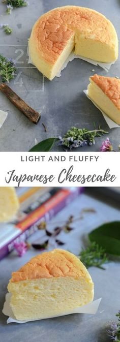 Fluffy and Light Japanese Cheesecake. Using only half box of cream cheese and three eggs, this is the softest, moistest, lightest Cheesecake!