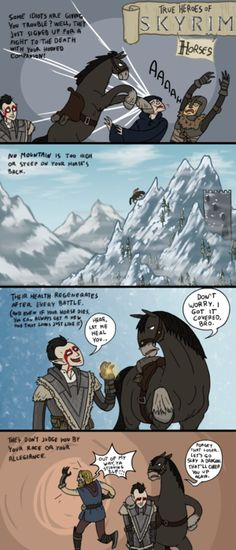 I love the horses in Skyrim. Actually I love horses in general but they are totally kick ass in Skyrim Skyrim Comic, Skyrim Funny, My Horse, Horses, Arrow To The Knee, Elder Scrolls Skyrim, Geek Stuff, Pokemon, Video Games Funny