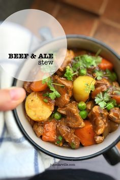 Easy peasy beef and ale stew with carrots, potatoes and peas... classic comfort food!