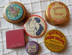 6 Vintage Miniature Compacts Rouge Sample Tins Mirror