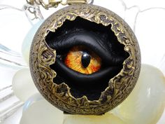 Steampunk Necklace Sightmares Eye Bronze and gold dust by DrBrassysSteampunk. Also to be found at MYTH Masque 2012.