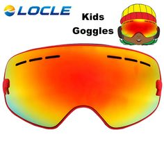 (41.88$)  Buy here - http://aisfp.worlditems.win/all/product.php?id=32784023578 - LOCLE Kids Ski Glasses UV400 Double Lens Ski Goggles Snow Ski Snowboard Goggles Boys Girls Spherica Anti-fog Ski Eyewear