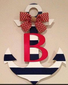 Anchor Door Hanger by millercrafts on Etsy Beach Crafts, Home Crafts, Diy And Crafts, Nautical Party, Nautical Nursery, Cruise Door Decor, Anchor Crafts, Anchor Baby Showers, Navy Home Decor