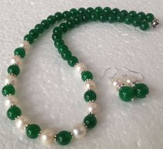 Natural White Akoya Pearl/Green Jade Round Beads Necklace Earrings Set Jn838 #ebay #Fashion
