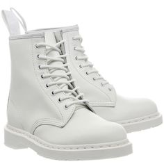 Dr. Martens 8 Eyelet Lace Up Boots ($92) ❤ liked on Polyvore featuring shoes, boots, ankle booties, white leather boots, white boots, white short boots, leather ankle boots and leather booties
