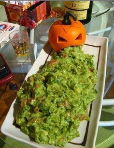 Guacamole - You could maybe do something like this with cheese sauce, just add a little food coloring and put a plastic skeleton in the bowl to make it look like he is bathing in something gross.