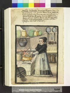 From: Die Hausbucher der Nurnberger Zwolfbruderstiftungen The chef is in her… Medieval Life, Medieval Fashion, Isabella Of Castile, Renaissance Era, Book Of Hours, Illuminated Manuscript, 16th Century, Middle Ages, Sketches