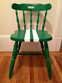 Green chair with white racing stripes