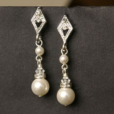 Art Deco Rhinestone and Swarovski Crystal Pearl Earrings. $28.00, via Etsy.