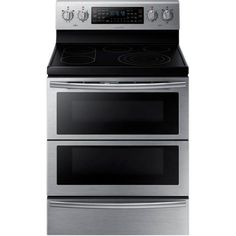 Samsung NE59J7850WS 30 in. 5.9 cu. ft. Flex Duo Double Oven Electric Range with Self-Cleaning Convection Dual Door Oven in Stainless Steel