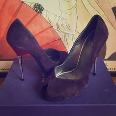 """Elegant Stuart Weitzman Suede Violet PeepToe Pumps Elegant peep-to Stuart Weitzman pumps - Viceroy in Concord/deep violent with burgundy -cent leading to a gilded silver heel. Approx. heel height: 5"""" with 3/4"""" platform. Suede upper/leather lining and sole; made in Spain. Ships with box. Only worn a few times, broke my ankle and can't wear any longer. Give them a happy home! Stuart Weitzman Shoes Heels"""