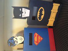 Valentine boxes using Superman and Batman Cricut Cartridges