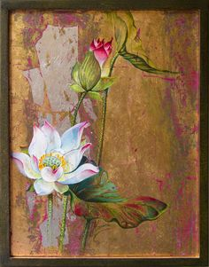 silver ray lotus flower original oil painting handmade vintage gold timeless elegant unique design perfection luck enlightenment happiness